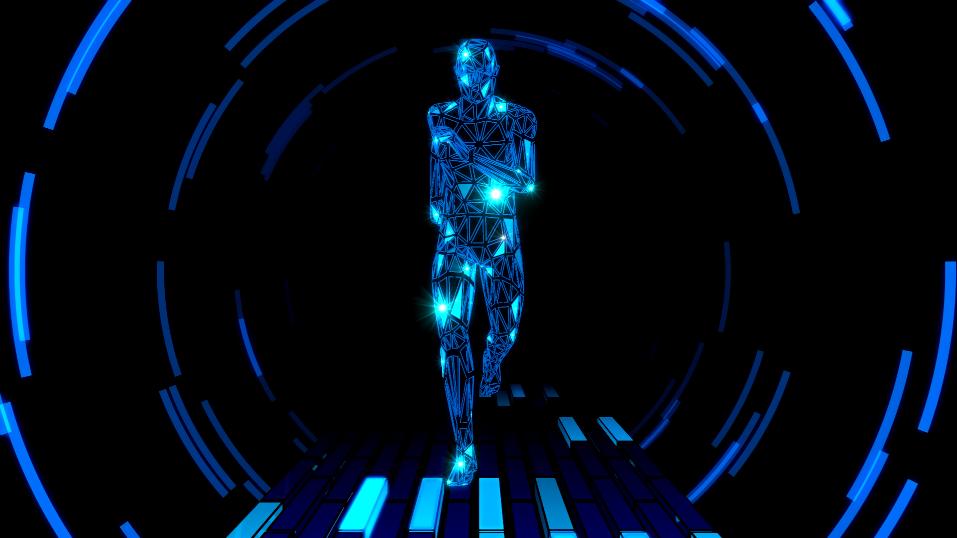 未来高科技3D人物奔跑视频LED高清视频素材