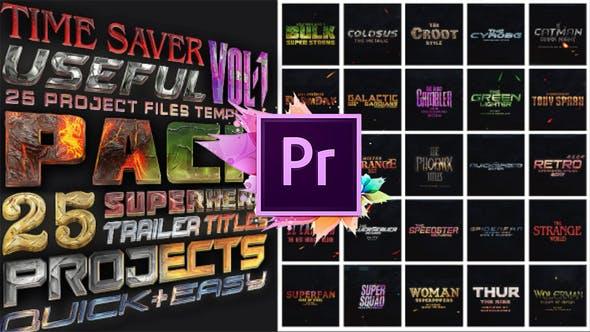 PT标题文字 25个震撼炫酷风格漫威超级英雄电影风格标题模板下载
