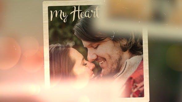 PR电子相册模板 复古相框婚礼现场视频浪漫回忆照片展示感情记录视频模板