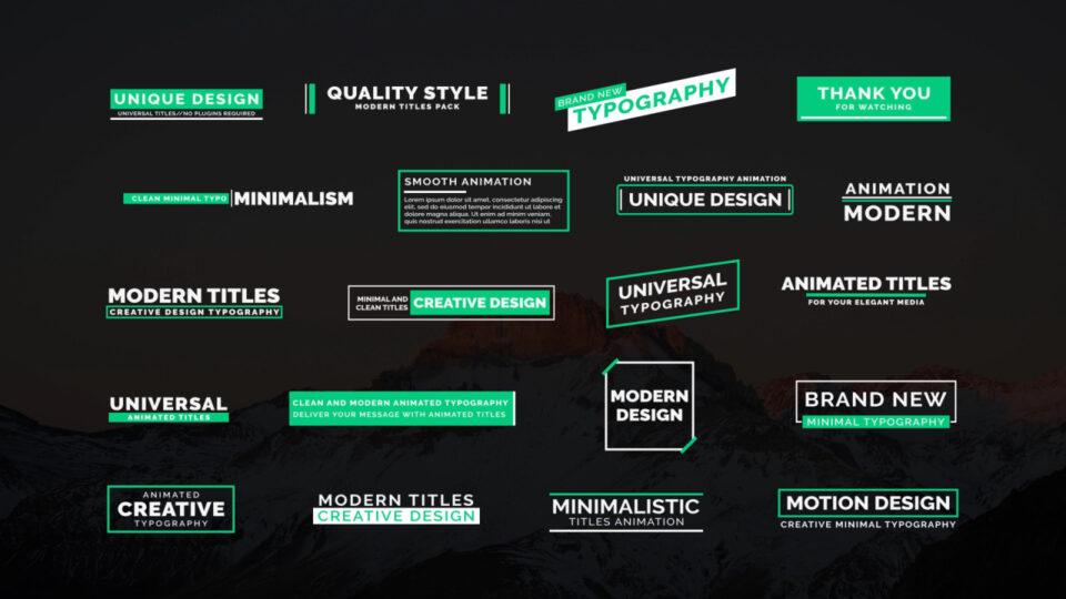 PR动态标题文字动画模板 绿色小清晰动态文字模板