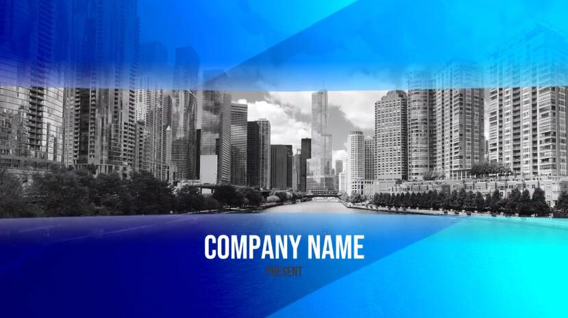 PR公司宣传介绍视频模板 蓝色半透明玻璃效果简洁PR幻灯片模板