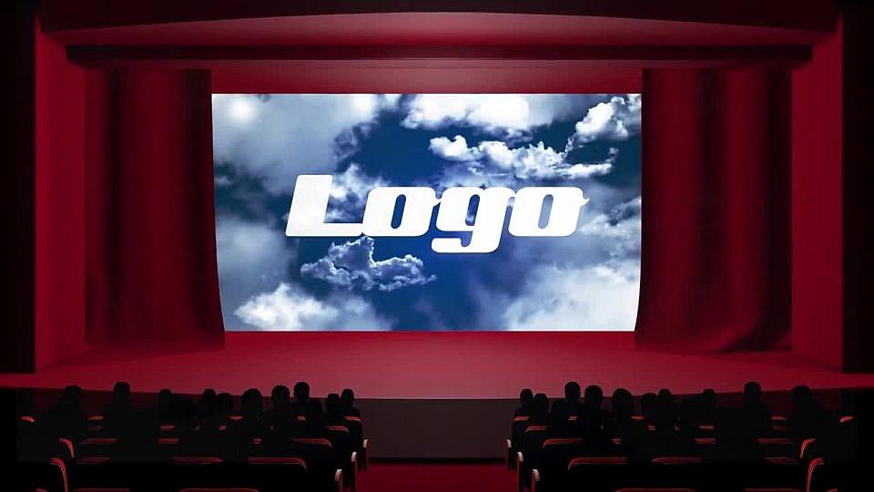 PR字幕LOGO展示 电影院场景拉开幕布logo展示模板下载